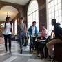 Stuart Hall School Photo - Students socialize between classes in the historic arcade